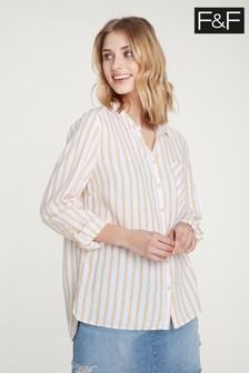 F&F Yellow Stripe Linen Blend Shirt