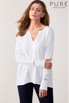 Pure Collection Cotton Open Ladderwork Top