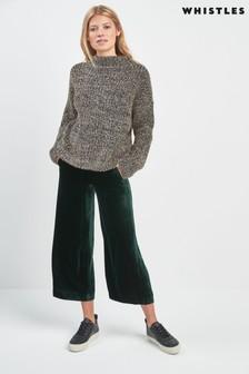 Zelené sametové zkrácené kalhoty Whistles