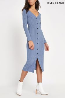 River Island Blue Button Bodycon Dress