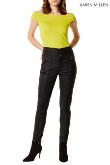 Karen Millen Black Coated Corset Jean