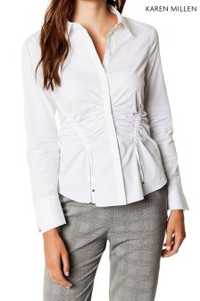 Karen Millen White Drawstring And Ruche Shirt