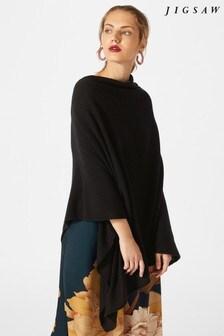 Jigsaw Black Wool Cashmere Blend Long Poncho