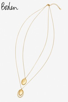 Boden Gold Tone Oval Longline Pendant
