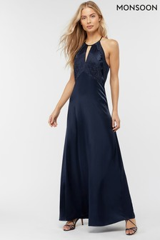 Monsoon Navy Rhea Satin Lace Maxi Dress
