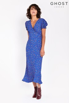 Ghost London Blue Printed Poet Bias Cut Crepe Midi Dress