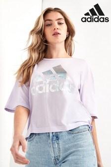 adidas T-Shirt in Boxy Fit mit Metallic-Logo, Flieder