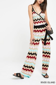 River Island Gold Print Reeves Chevron Jumpsuit