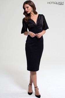HotSquash Black Emma Dress With Buttons