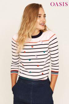 Oasis White Hannah Heart Embroidered Stripe Jumper