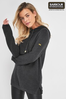 Barbour® International Charcoal Knitted Hoody
