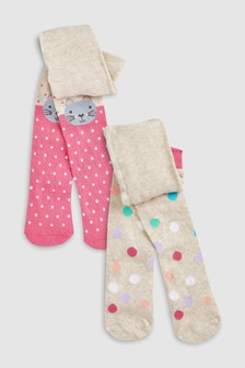 Cat And Spot Tights Two Pack (Younger)
