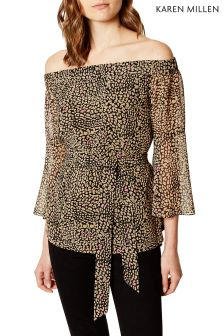 Karen Millen Leopard Colourblock Leopard Print On Soft Shirt