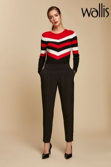 Wallis Black Piped Pull-On Trouser