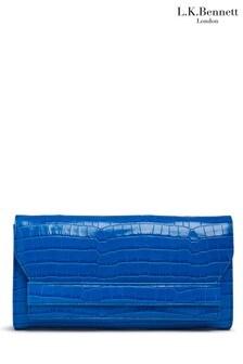 L.K.Bennett Blue Ella Clutch Bag With Flap