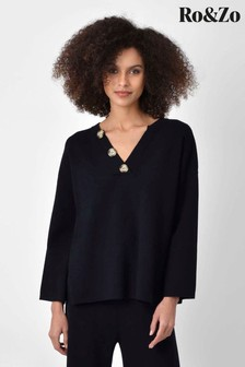 Ro&Zo Black Knitted Horn Button Sweater