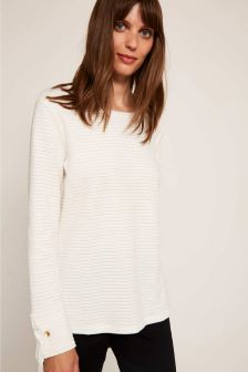 Mint Velvet White Textured Stripe Eyelet Sweater