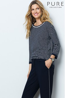 Pure Collection Cotton Double Crew Neck Top