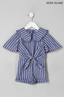 River Island Blue Stripe Large Collar Tie Front Playsuit