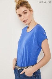 T-shirt Mint Velvet bleu en coton à motif étoile