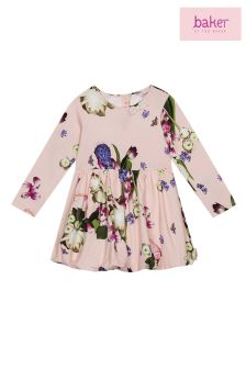 baker by Ted Baker Pink Printed Bow Sleeve Jersey Dress