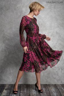 Gina Bacconi Pink Oksana Chiffon Dress