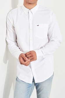 Hollister White Long Sleeve Oxford Shirt