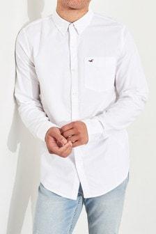 Chemise Oxford Hollister blanche à manches longues