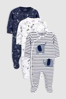 Delicate Elephant Sleepsuits Three Pack (0mths-2yrs)