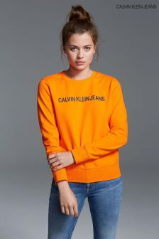 Calvin Klein Jeans Womens Orange Institutional Logo Sweatshirt