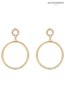 Accessorize Gold Tone Statement Circle Earrings With Swarovski® Crystals
