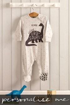 Personalised Little Brother Dinosaur Sleepsuit