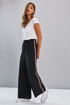 Side Stripe Wide Leg Belted Trousers