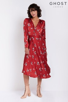 Ghost London Red Printed Orla Satin Dress