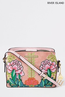 River Island Embroidered Open Top Triple Compartment Bag