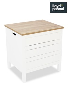 Lloyd Pascal White and Oak Effect Laundry Hamper
