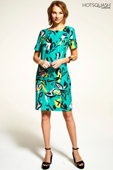 HotSquash Green Rivera Short Sleeved Print Shift Dress