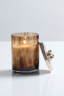 Gold Oud Glass Lidded Candle