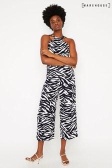 Warehouse Black Tiger Stripe Jumpsuit