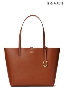 Ralph Lauren Tan Reversible Vegan Leather 2-In-1 Tote Bag