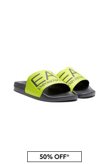 EA7 Emporio Armani Boys Yellow Sliders