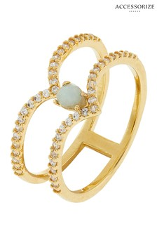 Z for Accessorize Layered Precious Stone Wishbone Gold Plated Ring