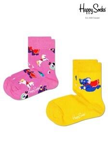 Happy Socks Kids Pink and Yellow Funfair 2 Pack Socks