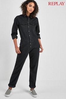 Replay® Black Denim Jumpsuit