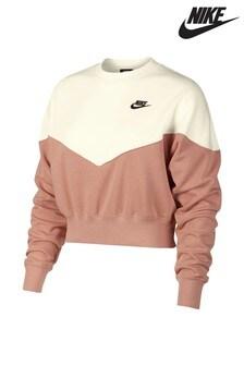 Sweat raccourci Nike Heritage Rose color block