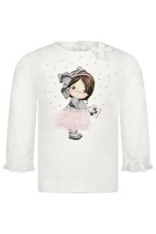 Baby Girls Pink Cotton Long Sleeve T-Shirt