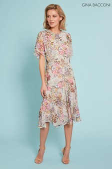 Gina Bacconi Grey Estera Floral Chiffon Dress