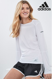 adidas White Response Long Sleeve Tee