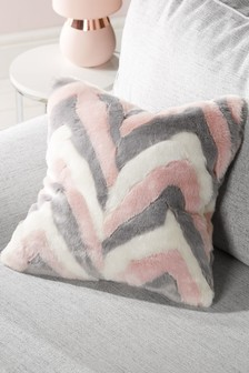 Chevron Faux Fur Cushion