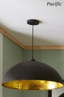 Pacific Matt Black & Gold Leaf Dome Pendant